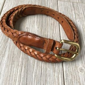 Accessories - Vintage mesh leather brown belt gold buckle